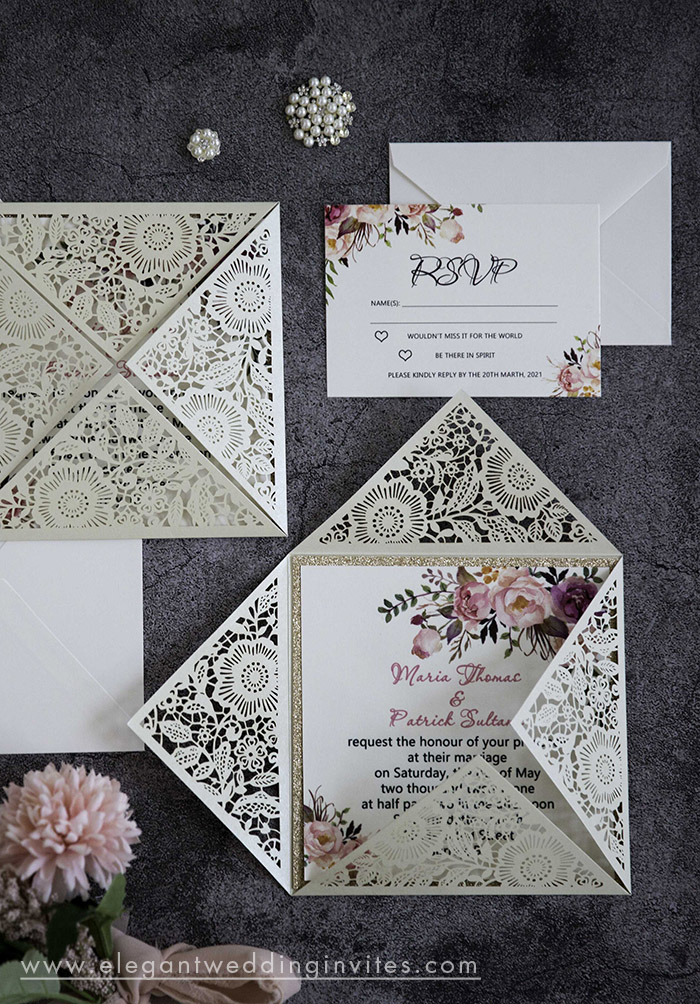 watercolor pink flower laser cut wedding invitations