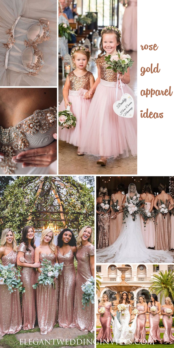 rose gold wedding dresses and bridesmaid and flower girls ideas