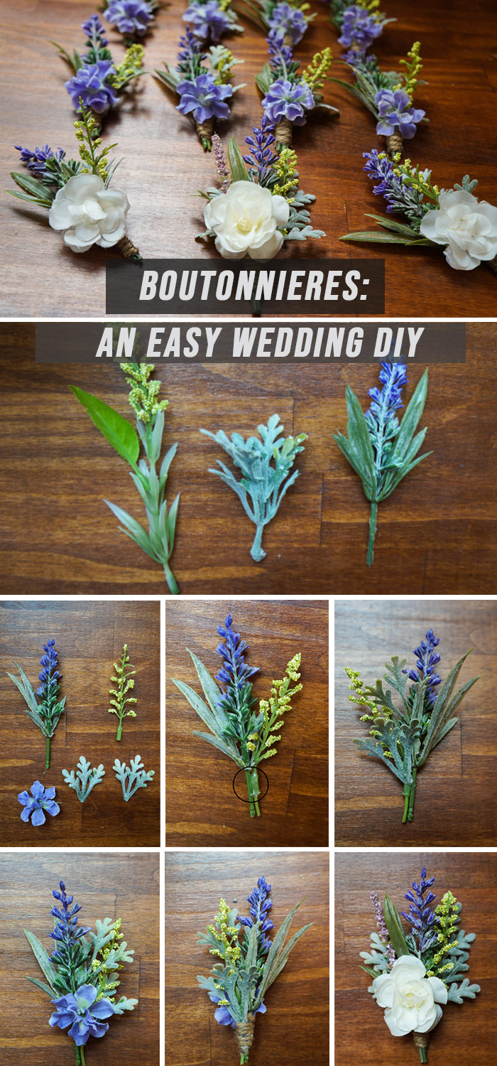 DIY Wedding Boutonnieres with faux flowers and greenery