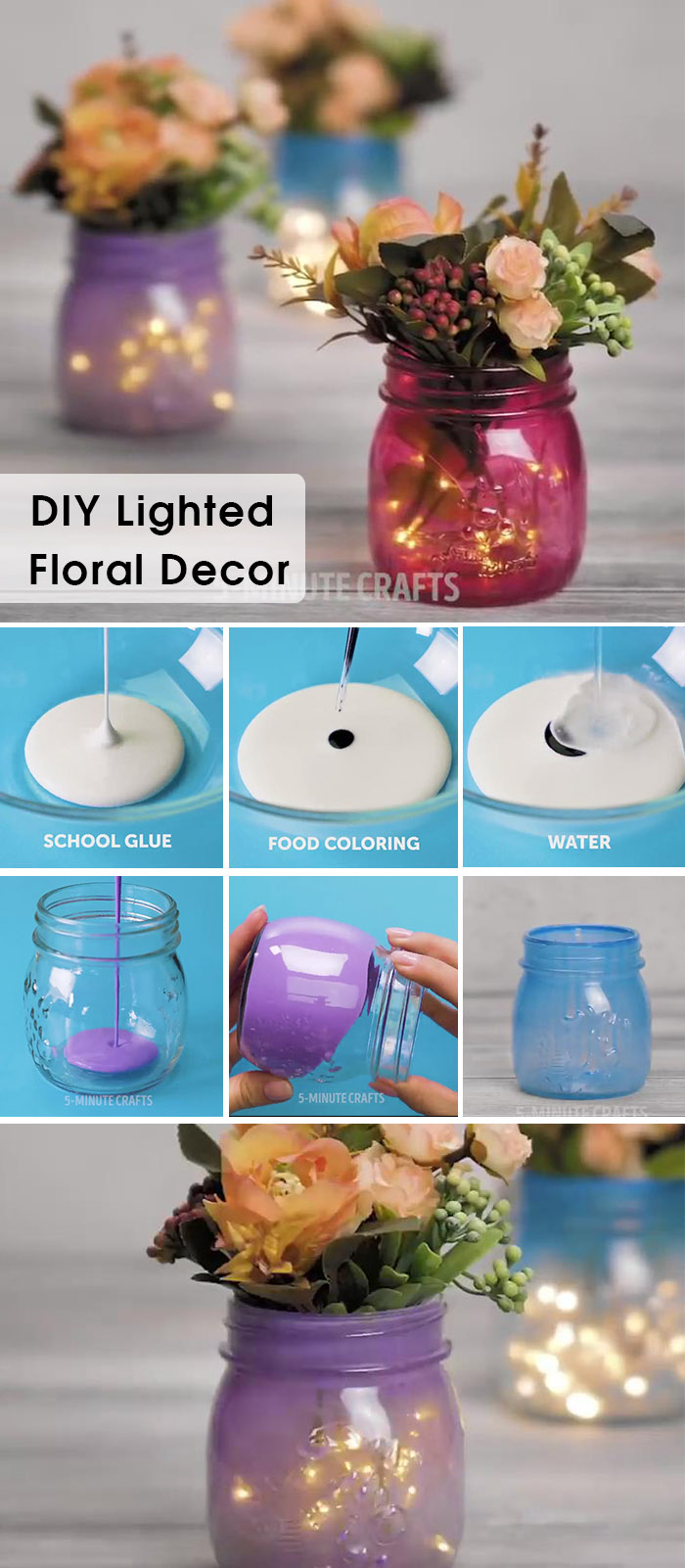 DIY lighted flower bottle wedding decoration