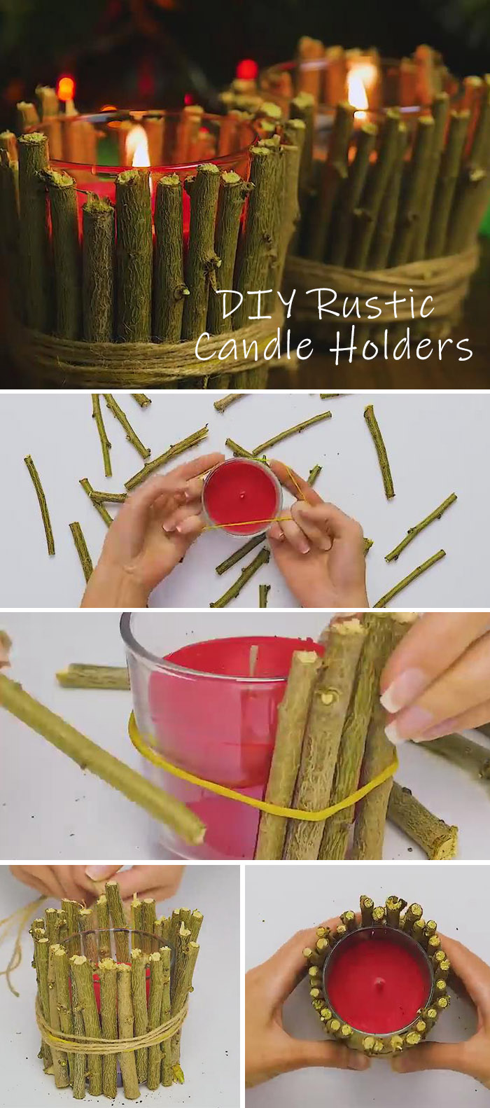 DIY rustic candle holders with wood sticks