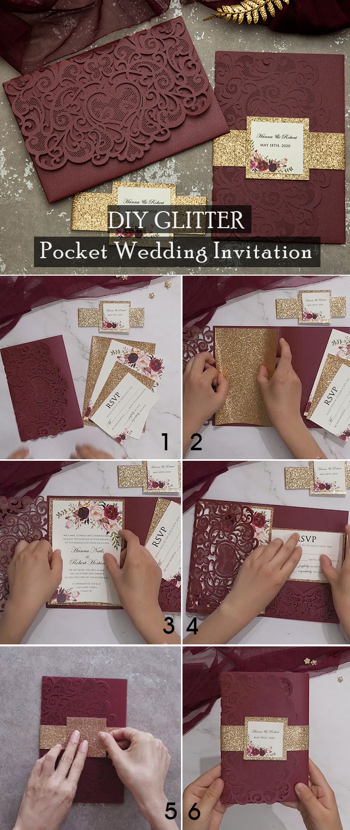 DIY tutorial to add glitters to your wedding invitations