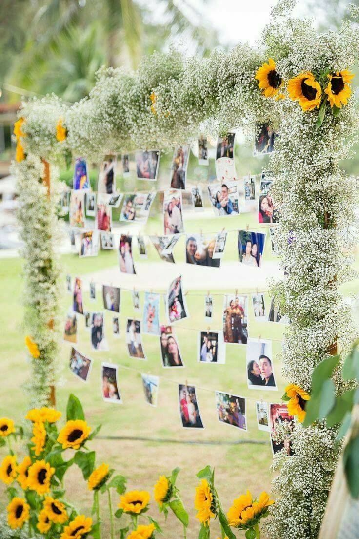 Rustic sunflower and babybreath wedding photo display ideas