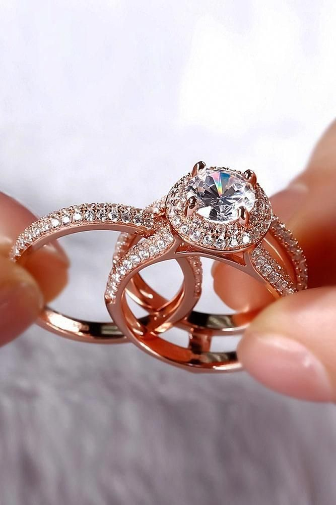 spectacular modern rose gold bridal sets