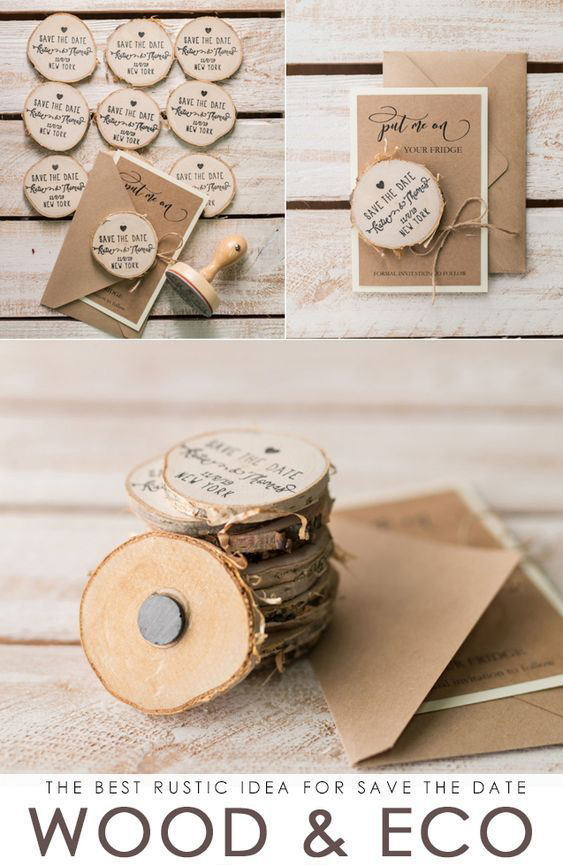 best rustic save the date ideas with wood eco magnets