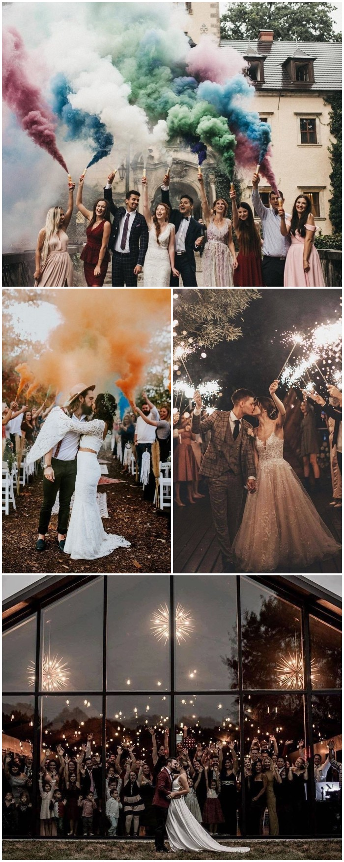 best wedding photo ides with smoke bombs and lights