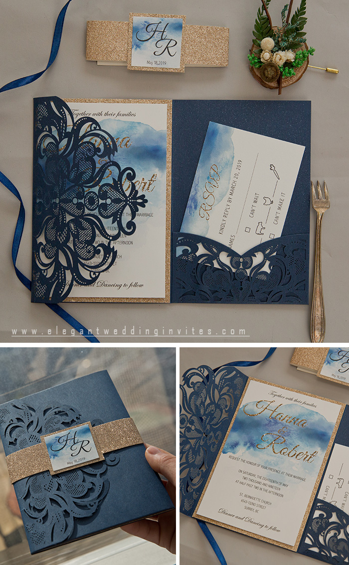 blue and glitter gold pocket fall wedding invitations