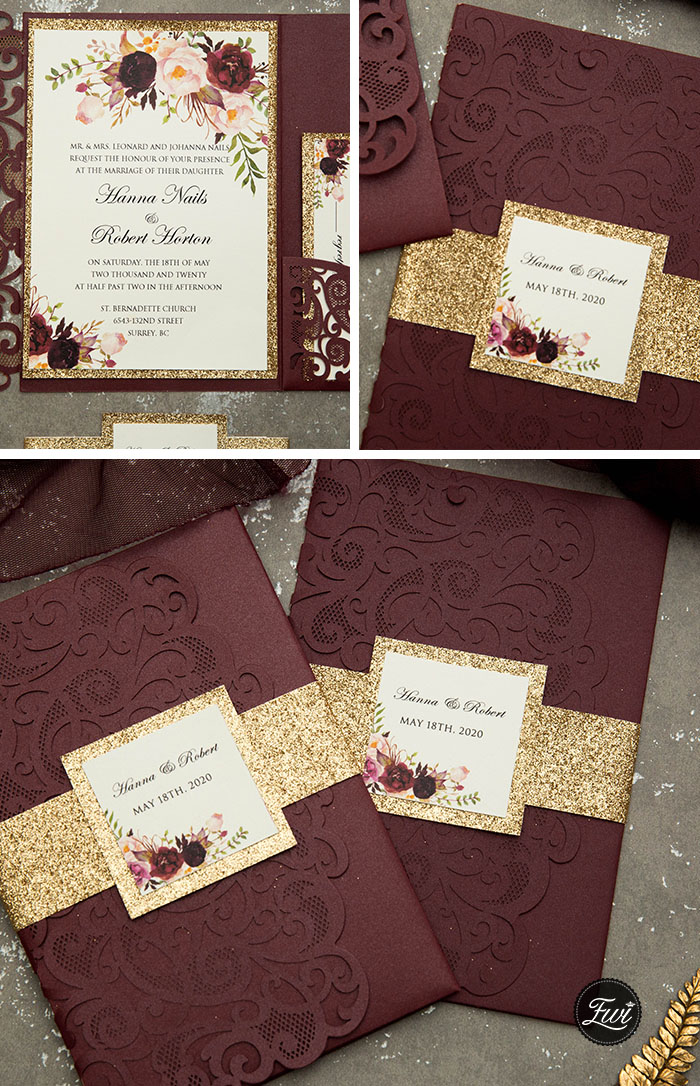 blush and dark burgundy pocket wedding invitations for fall brides