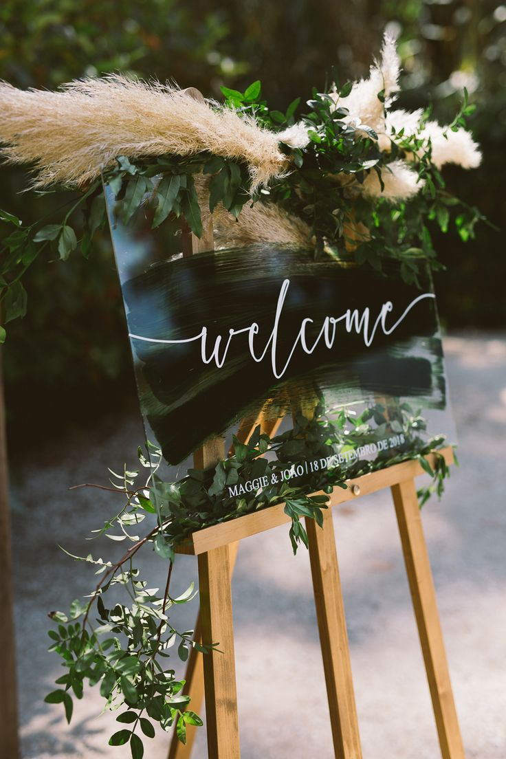 botanical dark green acrylic wedding welcome signs with pampas grass