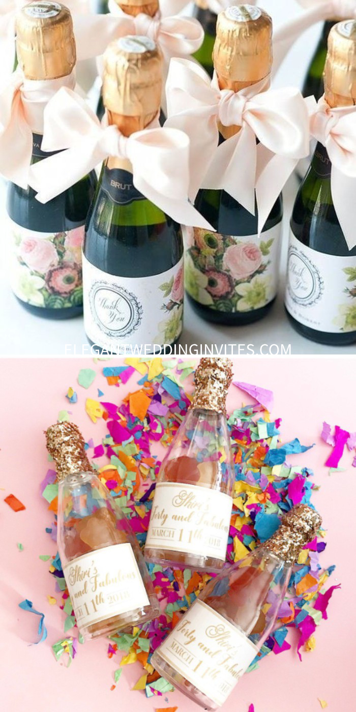 mini champagne bottle gummy bears rose flavored party wedding favors cheers non alcoholic