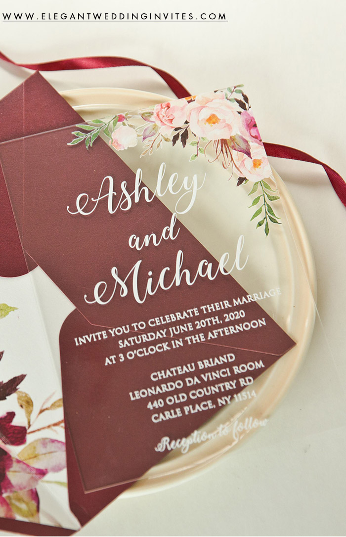 chic blush flower printed acrylic wedding invitation