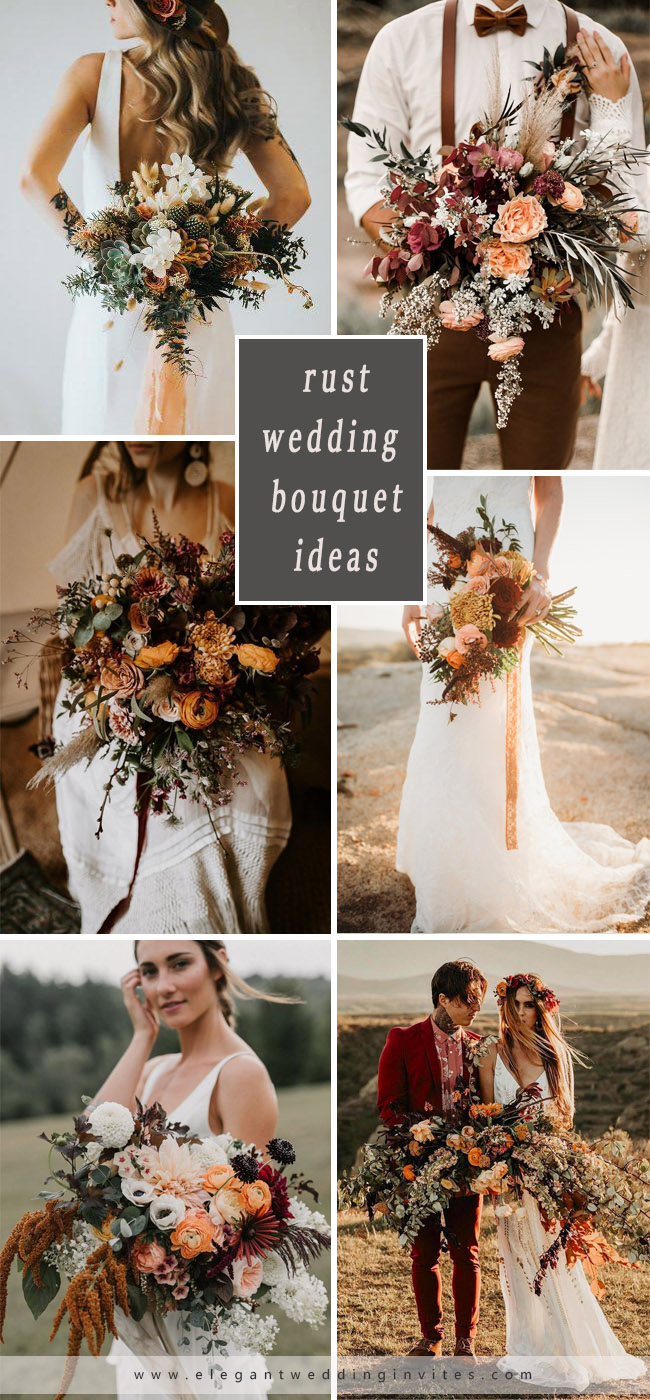 chic rust and orange colored wedding bouquet