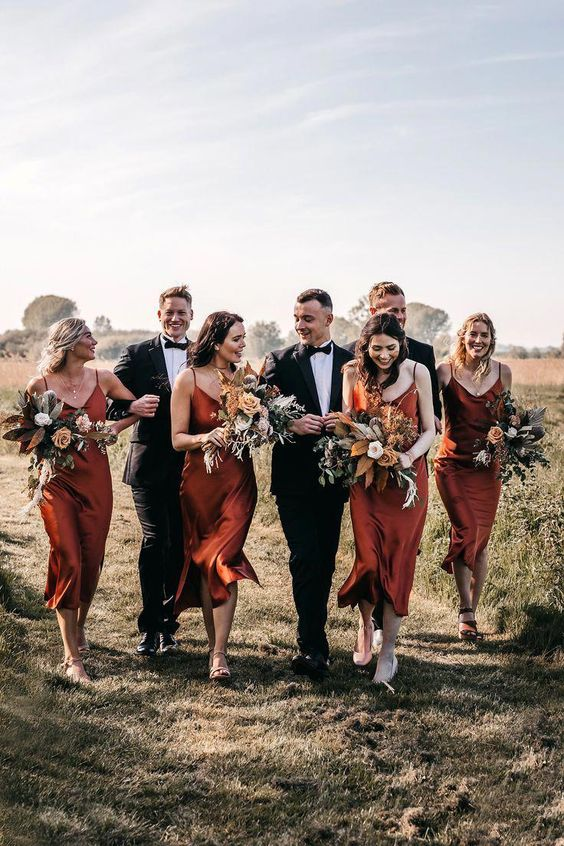 chic rust color bridesmaid dress for fall wedding