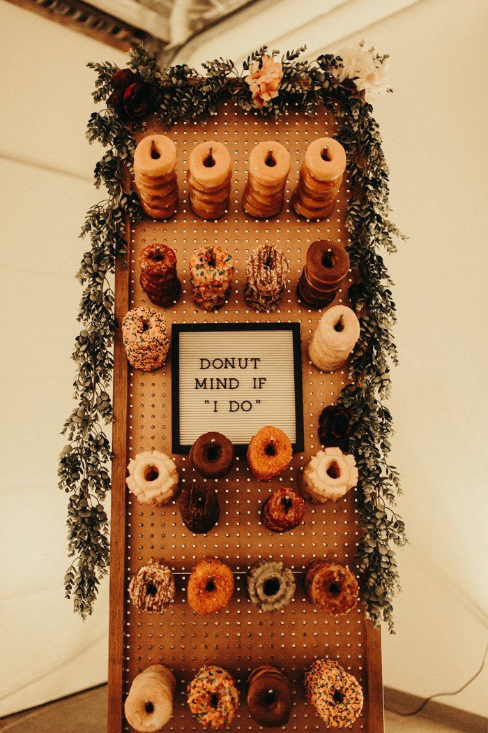 creative donut dessert food table ideas for rustic theme