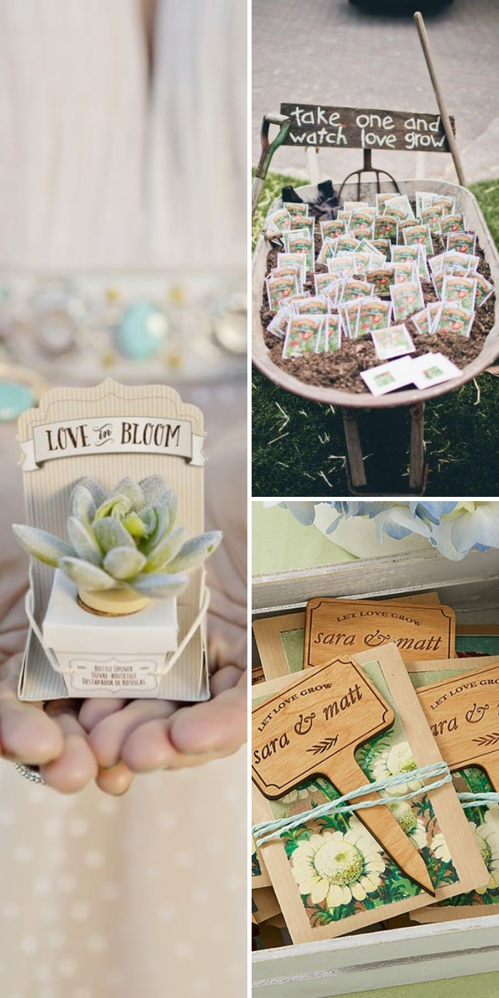 creative wedding favor personalized plant markers let love grow
