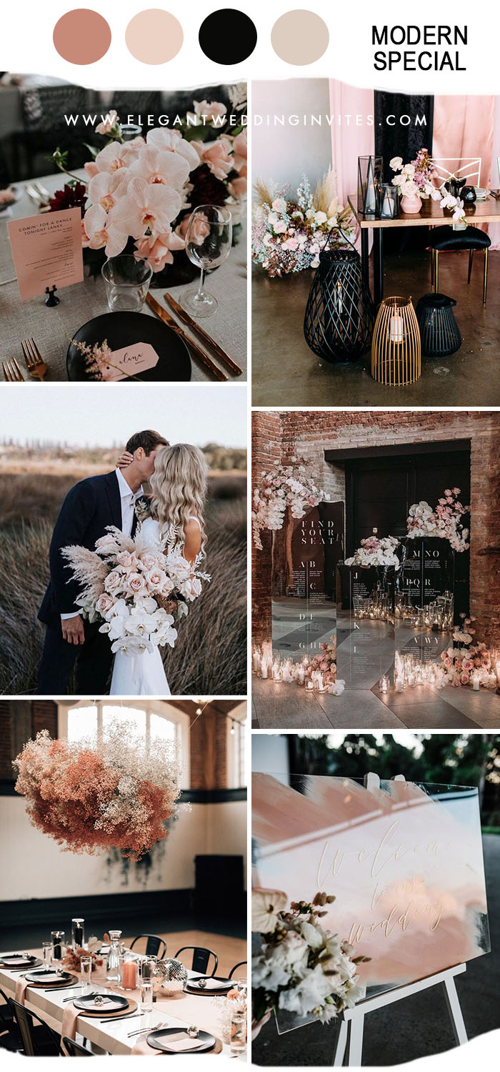 different dusty rose and black modern wedding party ideas