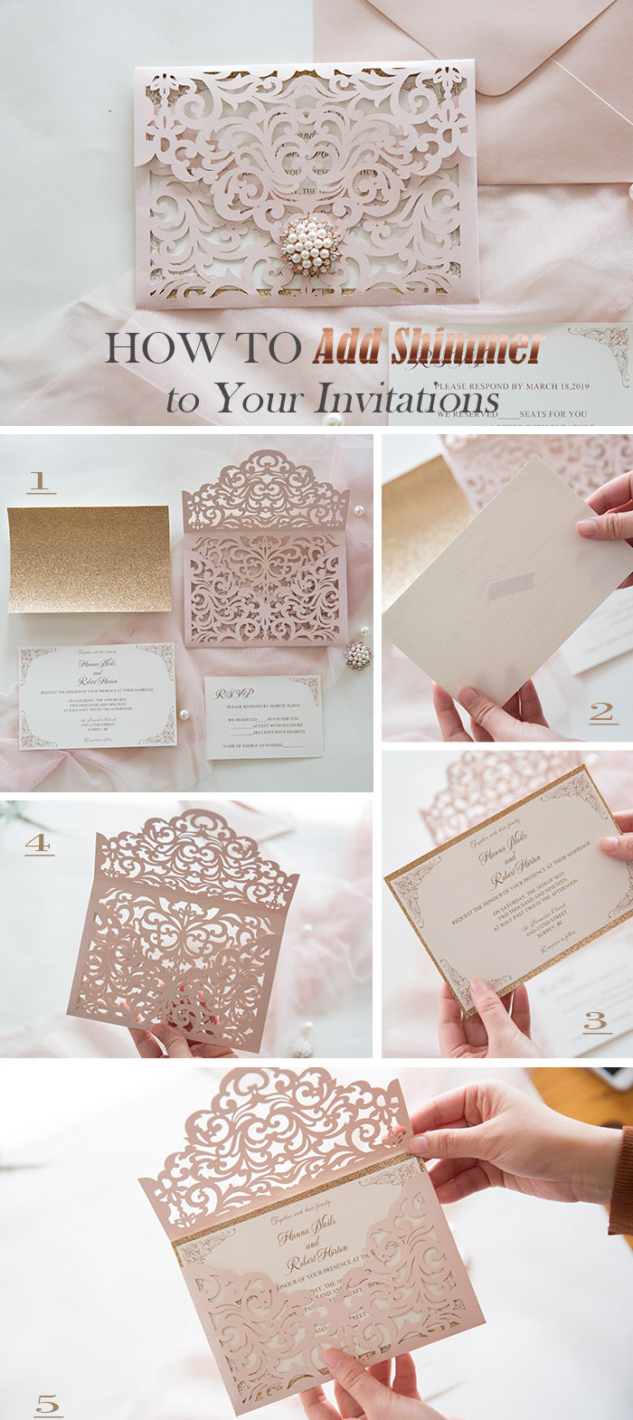 easy way to add shimmer to your wedding invitations