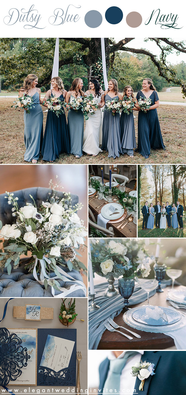 elegant and chic rustic fall wedding color inspiration in dusty blue and classic blue