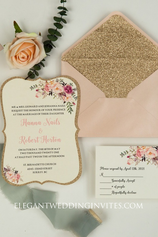 exquisite spring pink floral layer wedding invitation in bracket shape with rose gold glitter paper backer