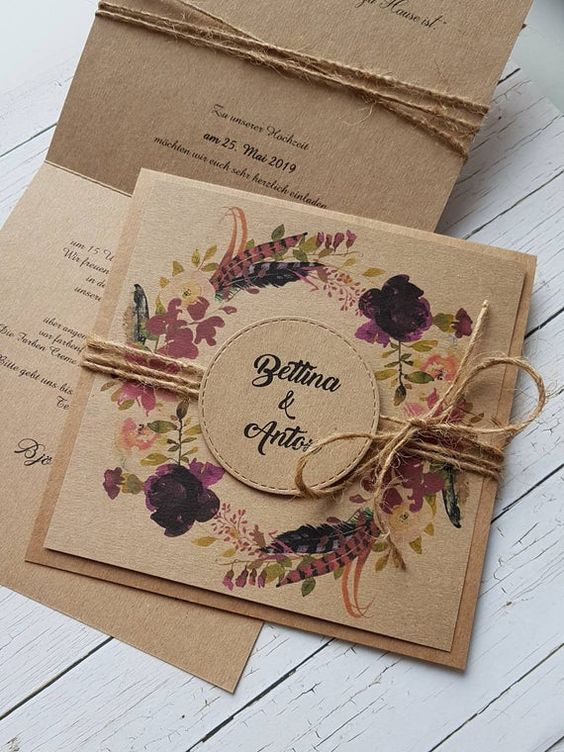 fall burgundy flower rustic wedding invitation with kraft paper backer and twines