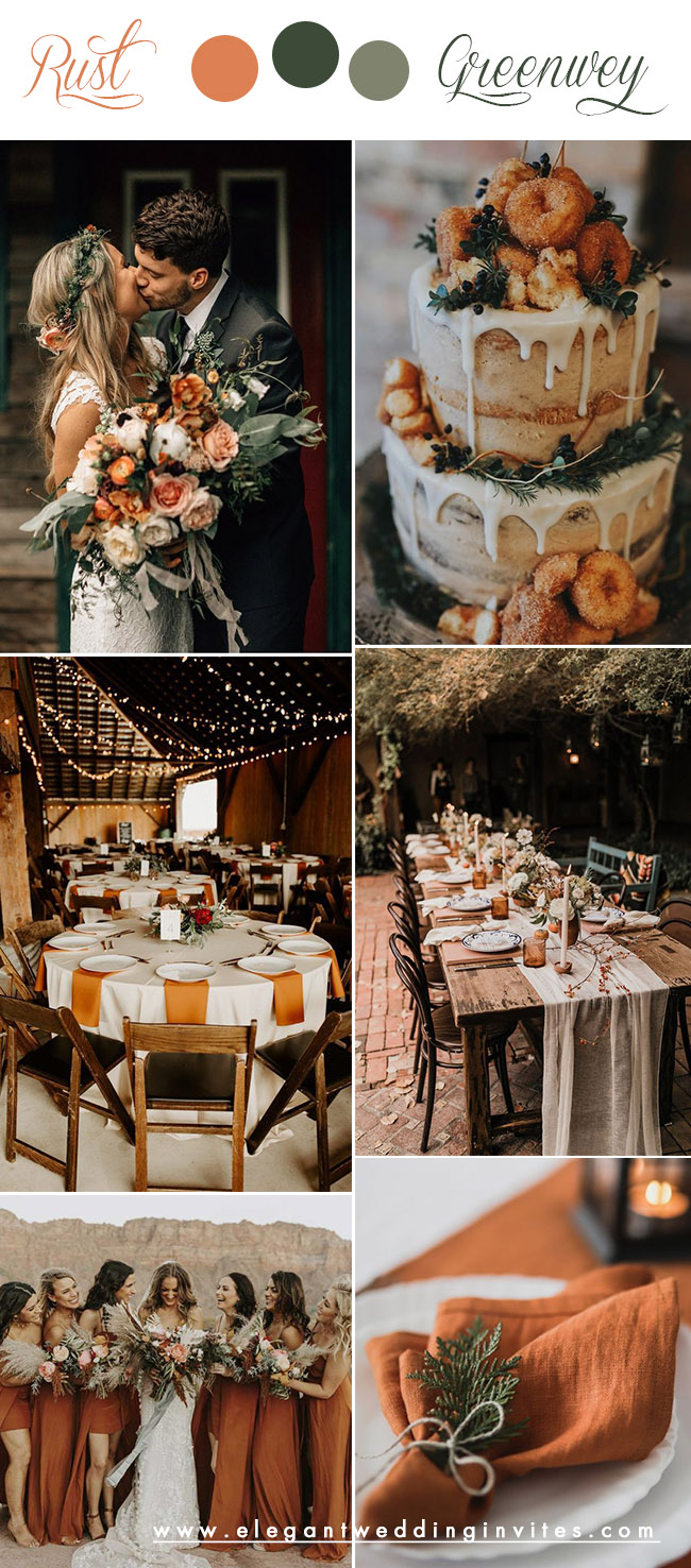 fall rust and greenery october wedding colors