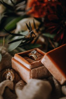 fall rust colored wedding ring boxes
