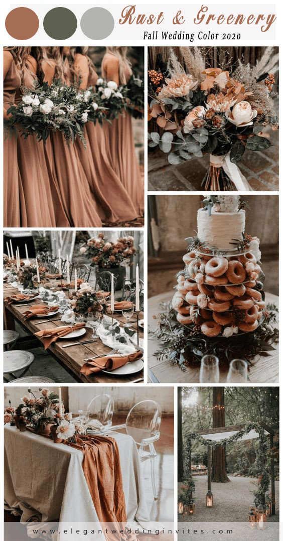 fall wedding color ideas for rust and greenery
