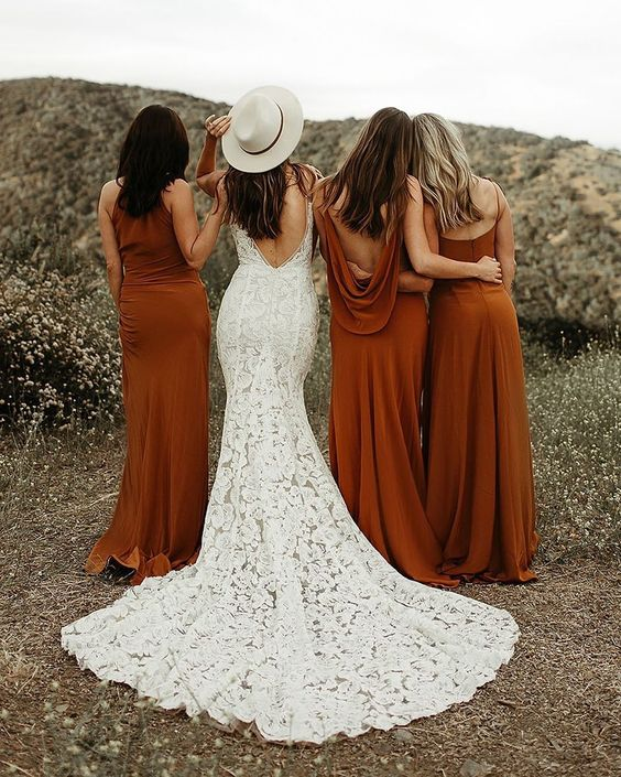 fall wedding mismatched bridesaid dresses