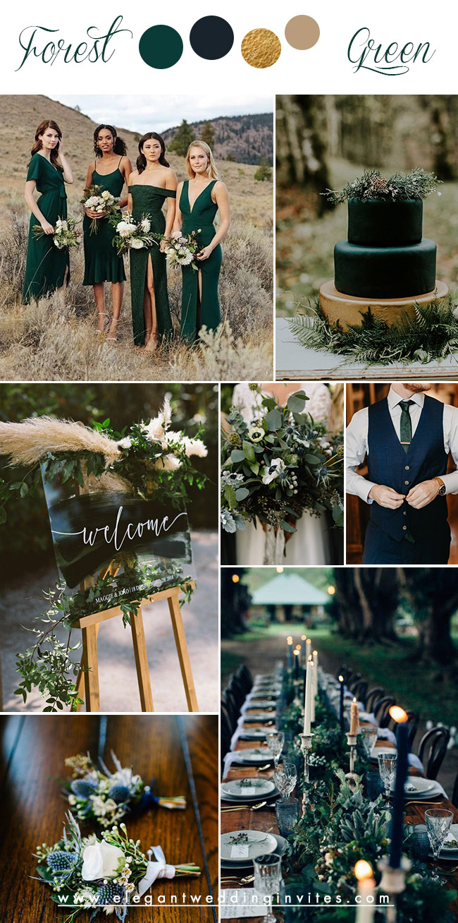 forest green and dark blue moody wedding colors