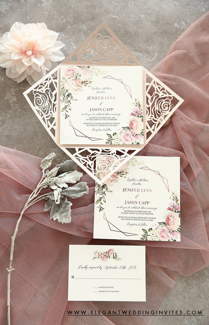 geometric floral rose pattern laser cut wedding invitations