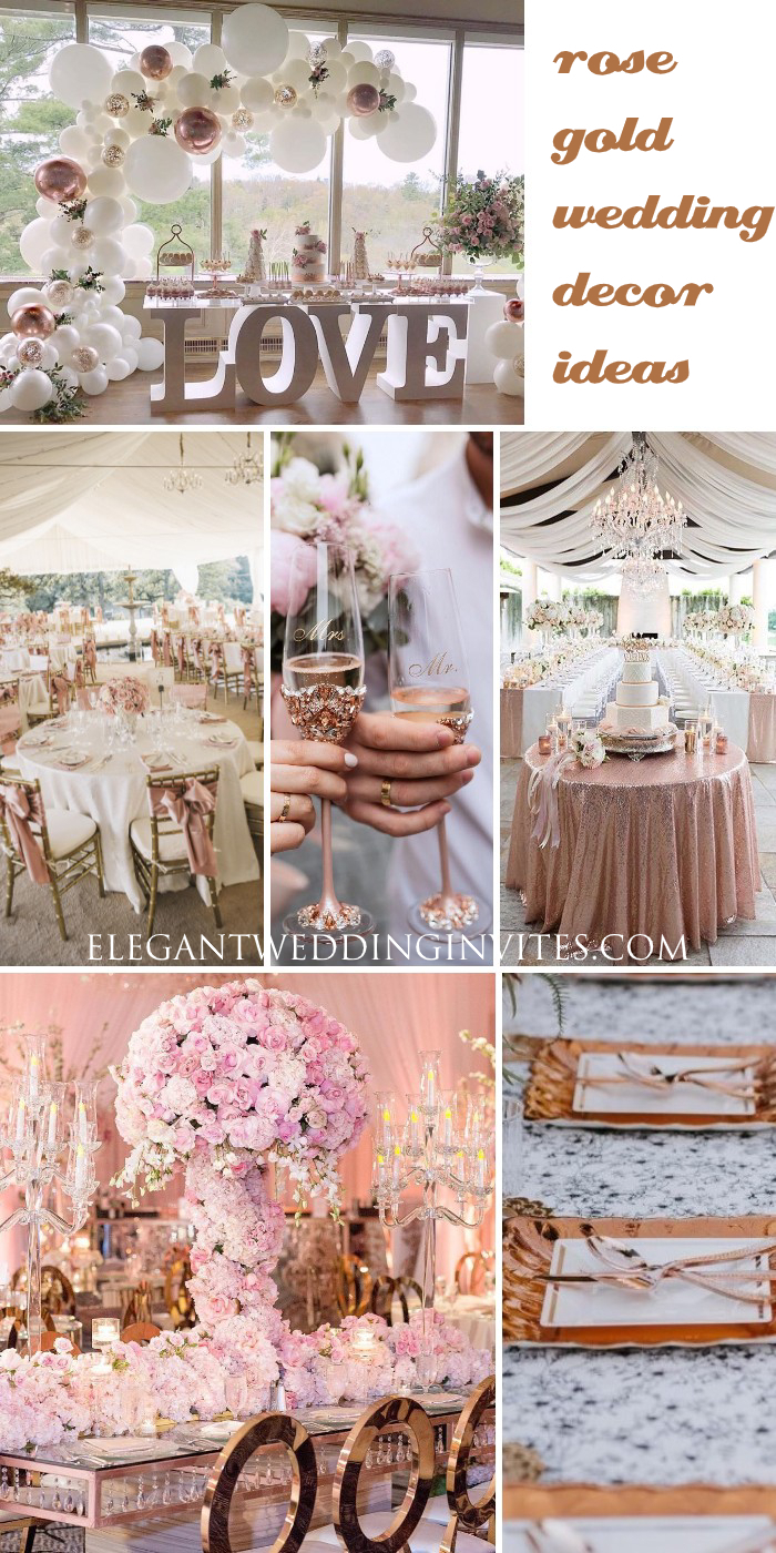 glamorous rose gold wedding decor & centerpieces ideas
