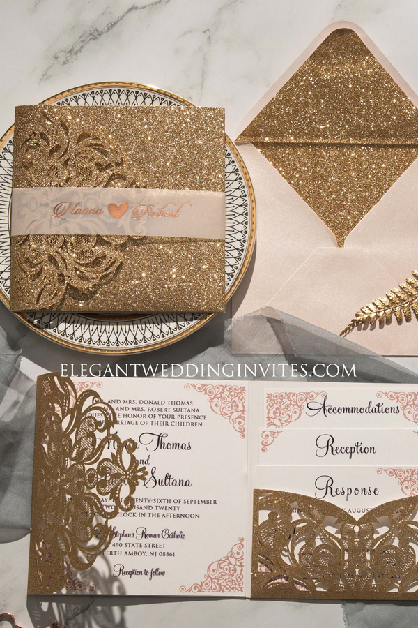 glitter & rose gold laser cut wedding invitation with pocket inserts