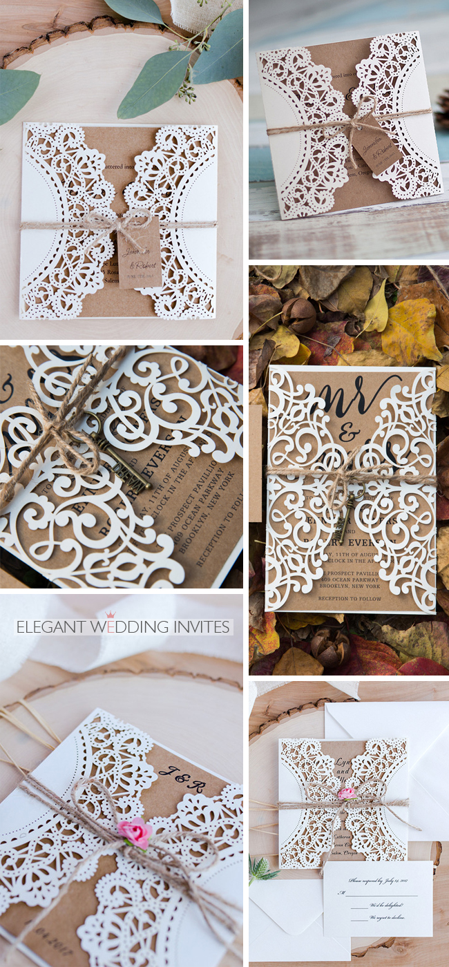 gorgeous rustic wedding invitation with twines and keys tags lovely flower