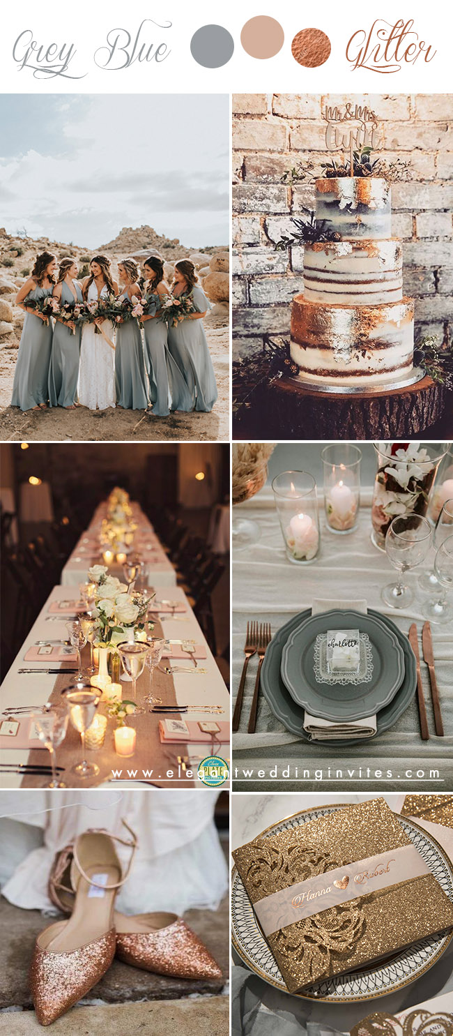 grey blue and rose gold glitter modern wedding colors