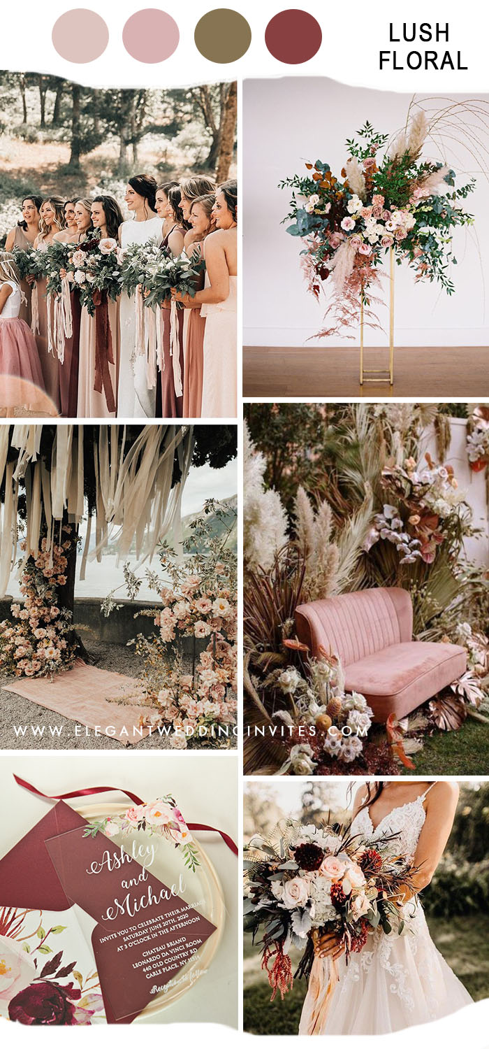 lush flowers rustic wedding ideas in blush and cinnamon rose color