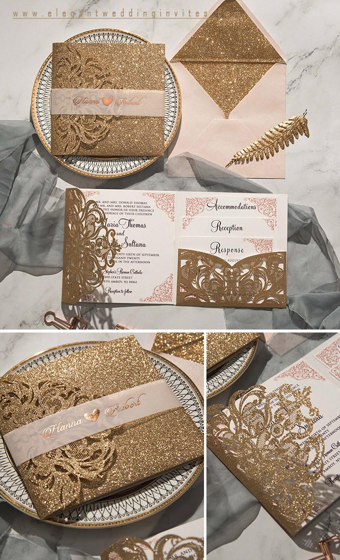 luxury rose gold laser cut wedding invitations with belly band