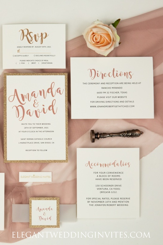 modern rose gold wedding invitation with matching glitter paper backer and tag