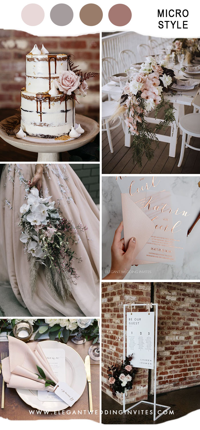 modern vintage micro wedding color in pale pink
