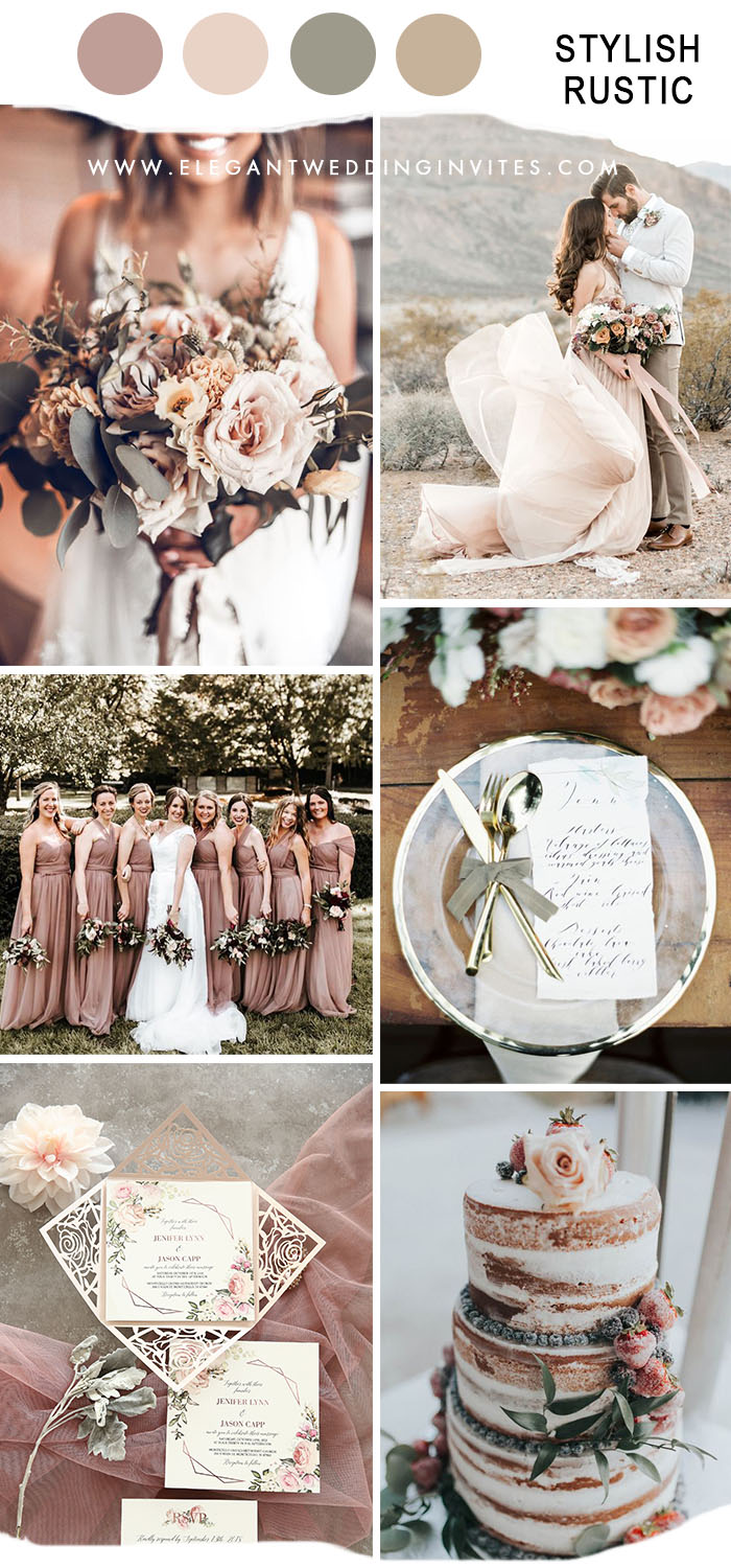 pastel pink rustic chic fall wedding color ideas