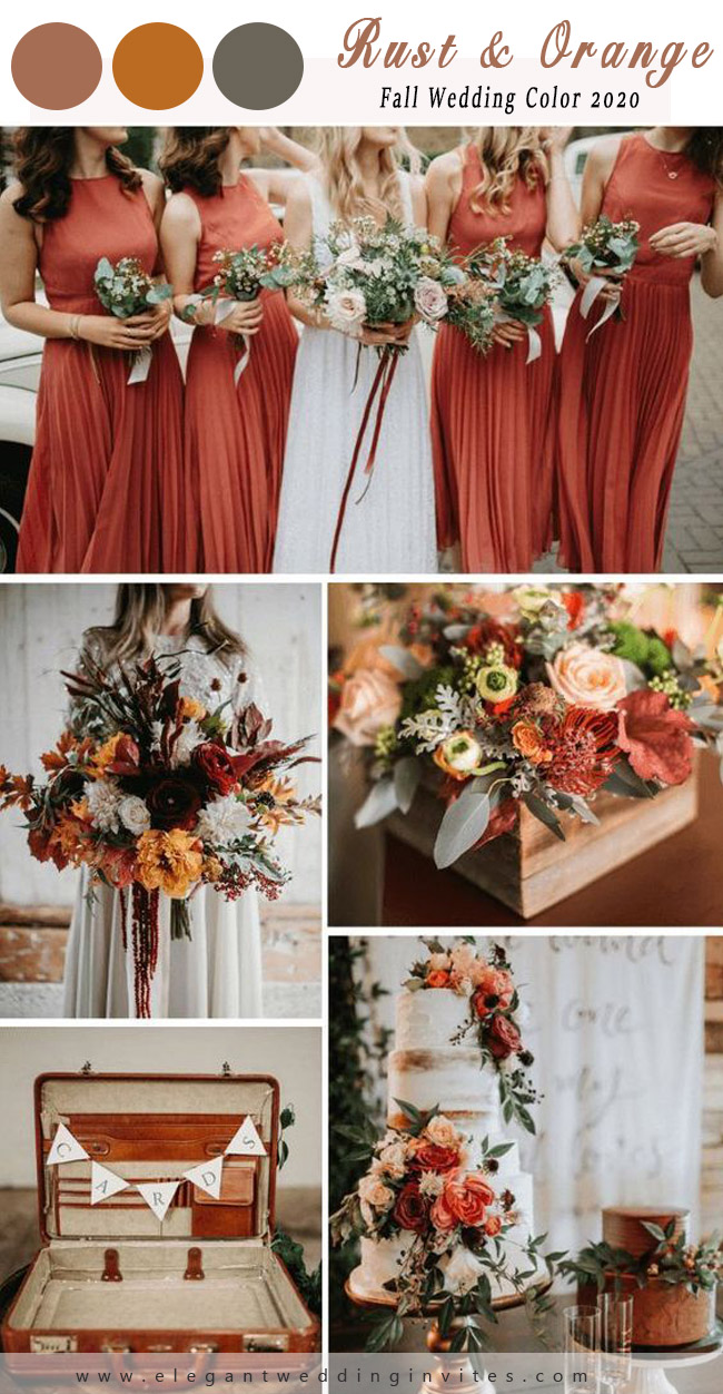 pretty chic rust and orange wedding color inspiration