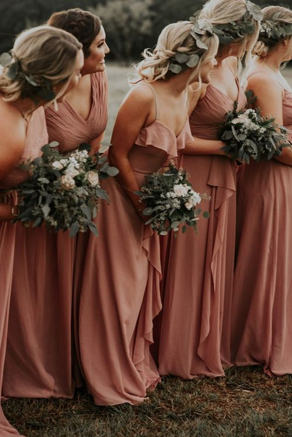 rust mismatched fall bridesmaid dresses