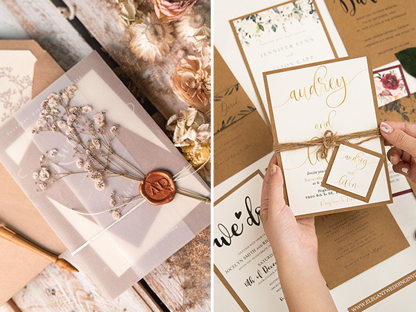rustic chic wedding invitations collections