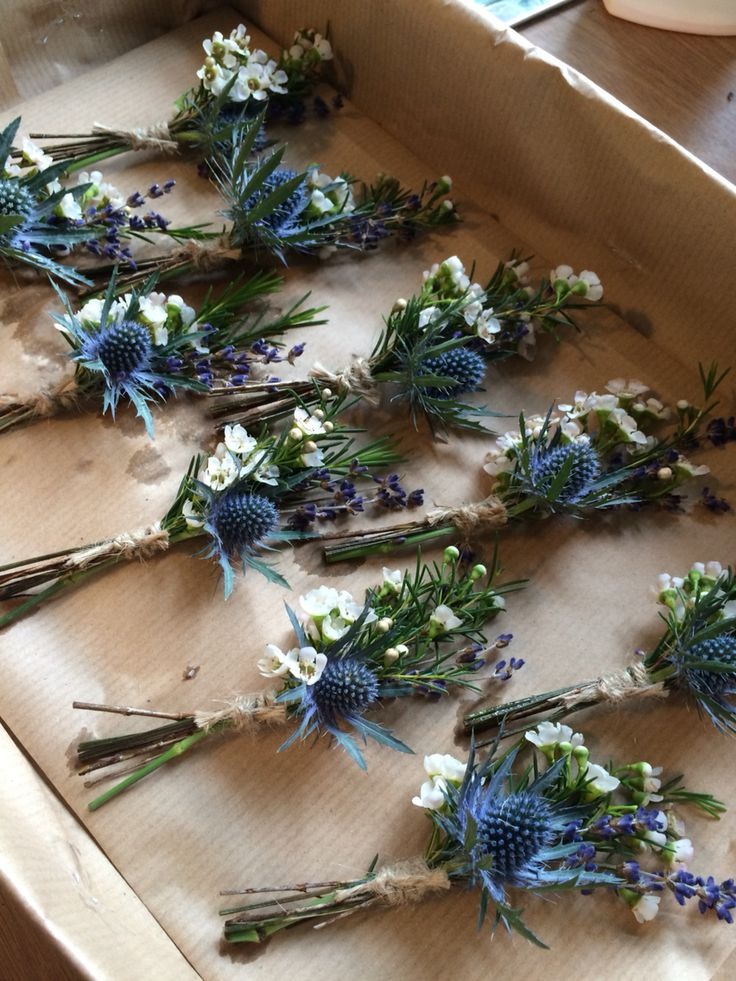 rustic groom boutonnieres with blue thistle, sea holly and lavender