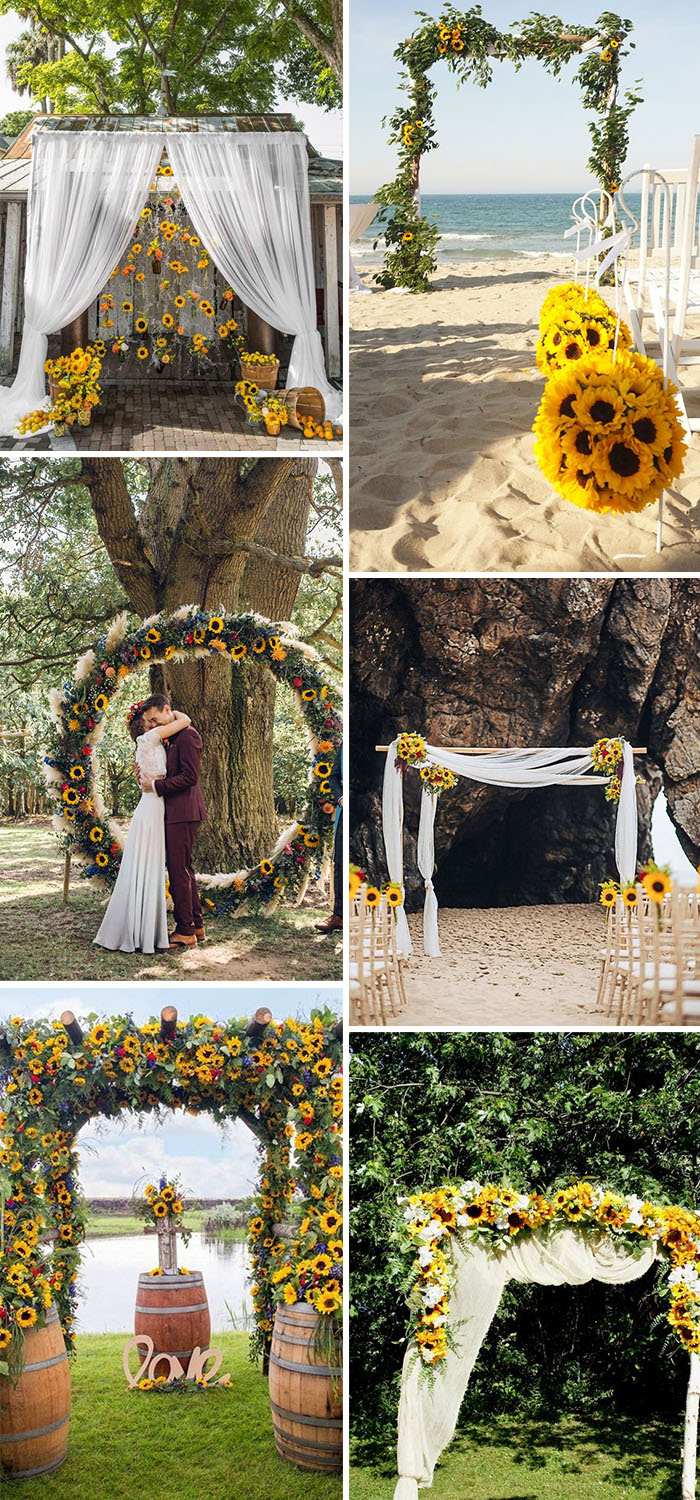 rustic wedding ceremony arch ideas with sunflowers