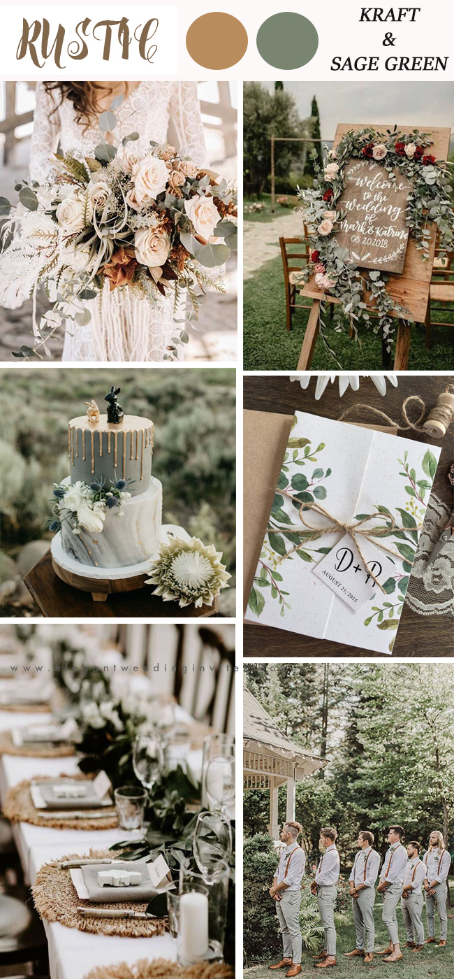 rustic wedding color hot trends inspiration for sage green and kraft