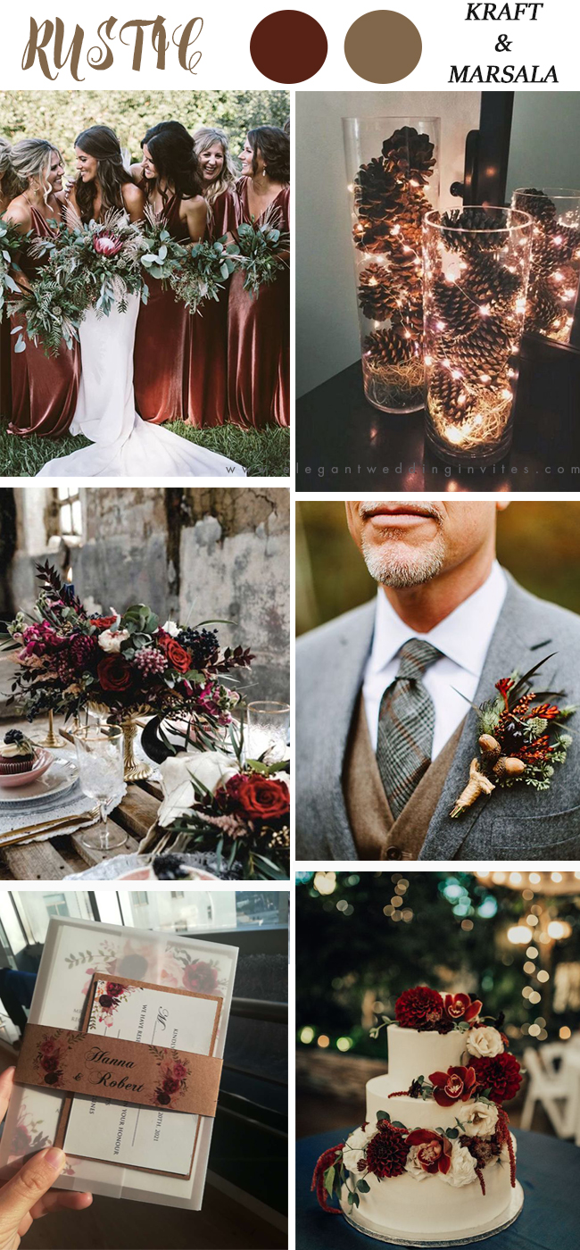 rustic wedding color trends with kraft and marsala invite ideas