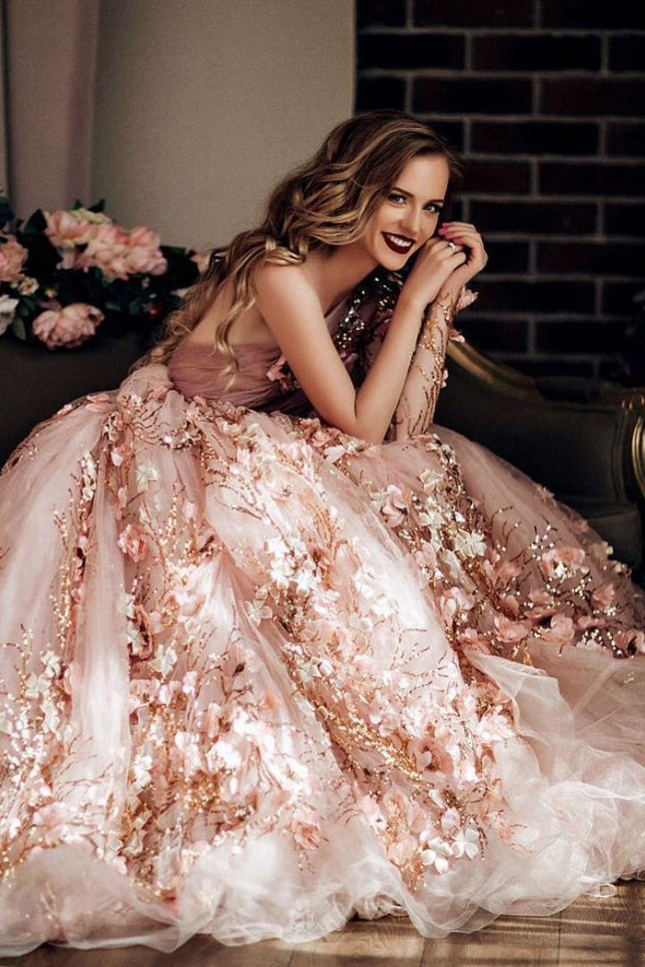 stunning rose gold floral weddding dresses ideas