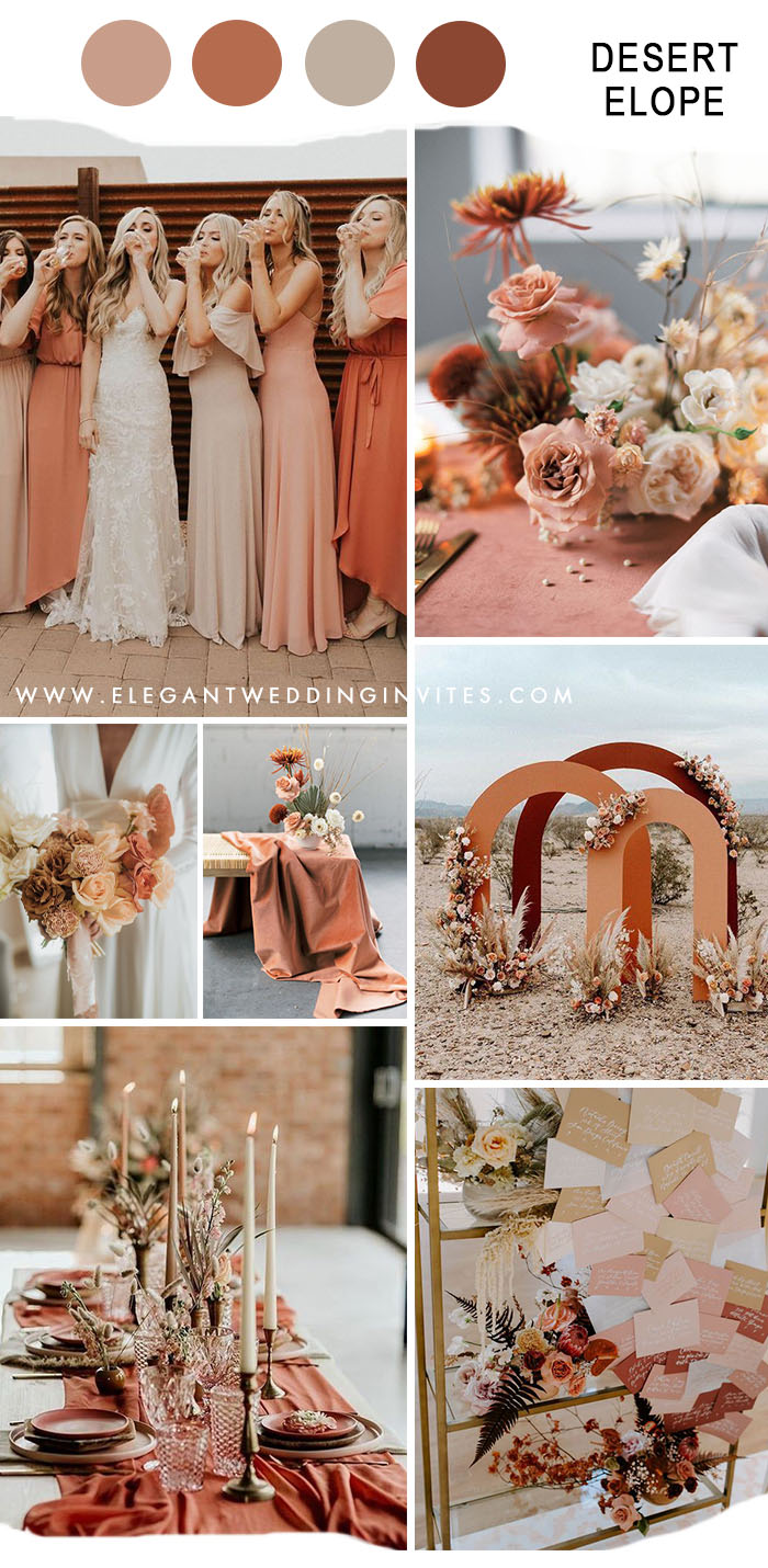 stylish desert elopement fall wedding color in blush & coral pink