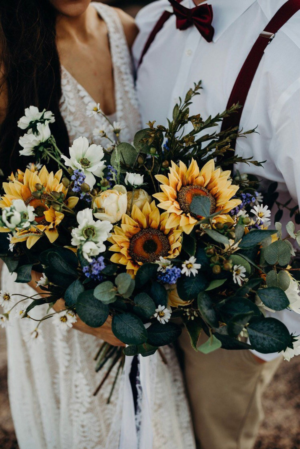 sunflower and forest greenery bridal bouquets