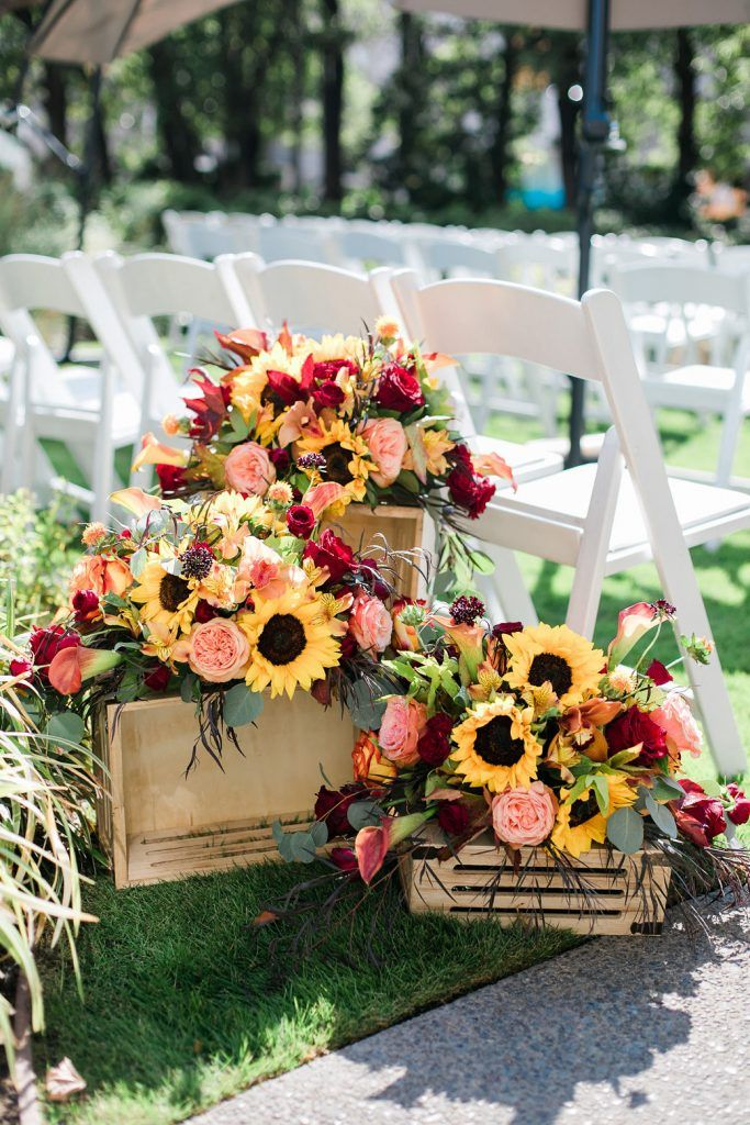 sunflower and pink flower wedding aisle decoration ideas